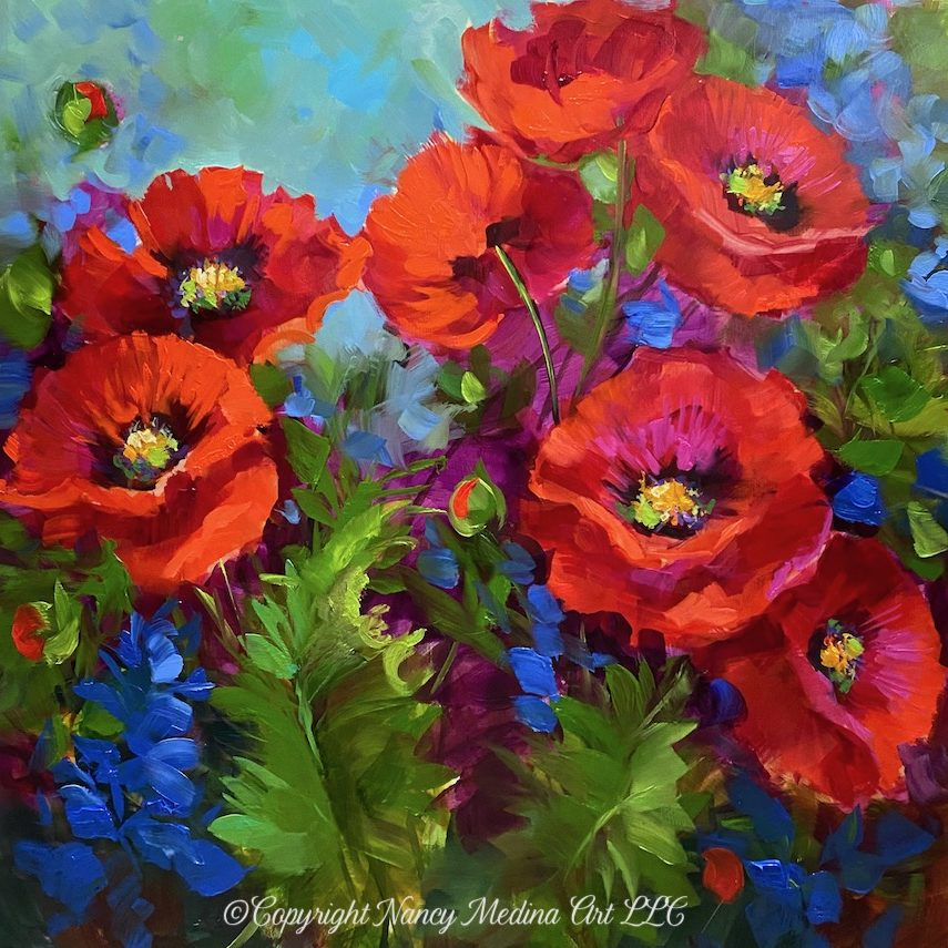 copyright TJB Home Grown Poppy Garden 16X16